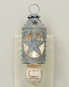 Country Farmhouse Metal Punched Star Lantern Night Light Barn Roof