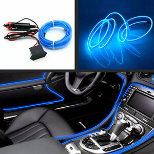 Car Neon Lamp 6.5Ft EL Wire Blue Cold Light Trim Atmosphere Fluorescent Strip