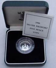 1990 United Kingdom Silver Proof Piedfort 5 Pence Coin Royal Mint