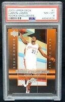 2003 Upper Deck Rookie Exclusives Lakers LEBRON JAMES Rookie Card PSA 8 NM-MINT