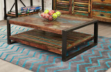 Urban Chic Furniture Reclaimed Wood Rectangle Coffee Table Shelf Steel Frame