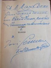 Envoi autographe / SAPHO DE LESBOS ( d'après Horus Metellin) José Germain