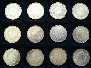 lot de 12 pièces de 50 FRANCS HERCULE 1975/76/77