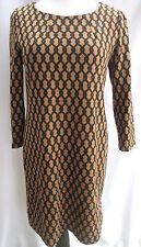Vivienne Tam Shift Dress Brown Black Knit Geometric Print 3/4 Sleeves Size 6