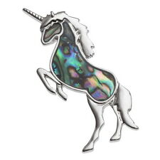 Blue Green Abalone / Paua Shell Silver Unicorn Brooch