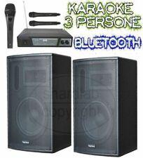 IMPIANTO KARAOKE SISTEMA ATTIVO: 2 casse amplificate 900w + microfoni wireless