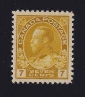 Canada Sc #113 (1916) 7c yellow ochre Admiral Mint VF H