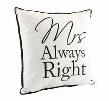 "NUEVO ""Mrs Always Right"" 30x30cm cuadrado 100% poliéster cojín blanco negro"
