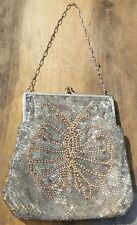 ESTATE BEADED BUTTERFLY SEQUIN PURSE-FLAPPER GIRL-NIGHT BAG-SILVER TONE-VINTAGE