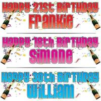 "2 PERSONALISED BIRTHDAY BANNER x 2 18th 21st 30th 40th CELEBRATION 36"" x 11"""