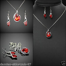 Set Swarovski Element Kette Ohrschmuck Silber plated Rubin Rot Orginal Design 62