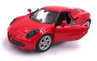Alfa Romeo 4C Sportwagen Modellauto Auto LIZENZPRODUKT 1:34-1:39 versch Farben
