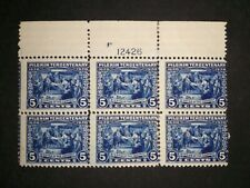 RIV: US MH 550 TOP Plate Block of Six 5 cent FRESH 1920 Pilgrim issue mint 2I