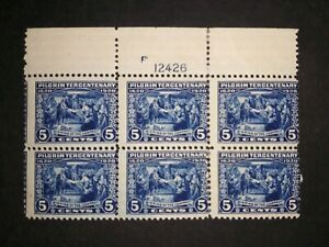 RIV: US MH 550 TOP Plate Block of Six 5 cent FRESH 1920 Pilgrim issue mint 2I