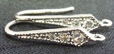 Sterling silver and Cubic Zirconia Triangular hook earrings French hooks earwire