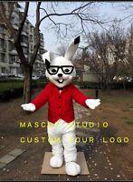 Rabbit Mascot Costume Suit Cosplay Party Game Dress Unisex Advertising Halloween