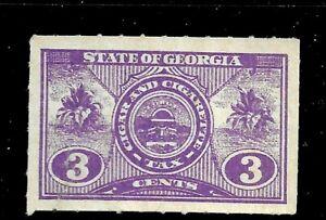 HICK GIRL- MINT U.S. STATE REVENUE   3 CENT  GEORGIA  TOBACCO TAX     D1149