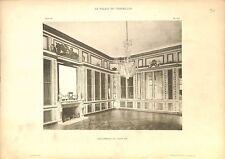 Bibliothèque de Louis XVI Cheminée Lustre Château de Versailles GRAVURE 1899
