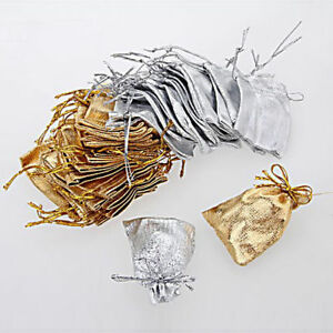 80Pcs Gold Silver  Bag Gift Bags Wedding Jewelry Drawstring Party Pouches Bag