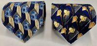 Ermenegildo Zenga LOT OF 2 All Silk FLORAL BLUE Necktie CLEAN