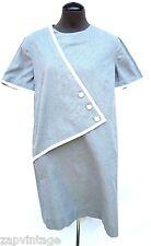Vintage Women's 1970's Grey & White Trim Triangle Dress - Large