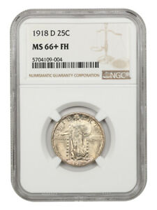 1918-D 25c NGC MS66+ FH - Underrated Date in Full Head