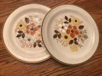 "2 Vintage ""Linda"" Dinner Plates Stoneware Excel Floral Pattern Single Brown Trim"