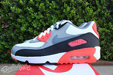 NIKE AIR MAX 90 LTR GS SZ 4 Y WHITE COOL GREY MEDIUM GREY INFRARED 833412 102