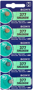 5 Pcs SONY 377 SR626SW 1.55V Watch Battery AG4 SR66 Silver Oxide Exp. 2028