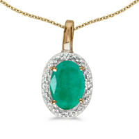 "14k Yellow Gold Oval Emerald And Diamond Pendant with 18"" Chain"