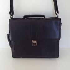 Lodis Designer Black Genuine Leather Briefcase Bag Computer Laptop Shoulder Bag