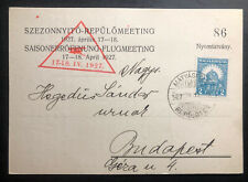 1927 Matyasfold Hungary Advertising Postcard Cover To Budapest Aviation Exhibito