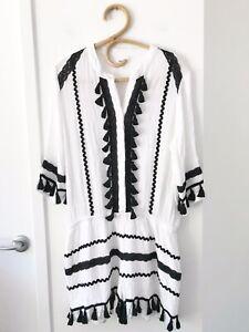 SEED HERITAGE Size 12 White/Black 3/4 Sleeve Boho Gypsy Tasselled Playsuit