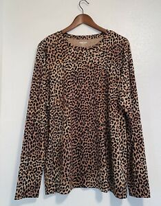 Lands' End Supima Cotton Leopard Long Sleeve Tunic Top Large Tall  NWOT