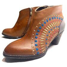 L'Artiste Rhapsody Ankle Boots Camel Brown Sun Burst Leather Womens EU 39 US 8.5