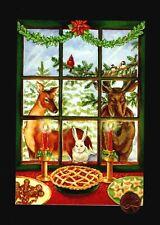 Christmas Moose Rabbit Dear Birds Window Cherry Pie Cookies Tree Greeting Card