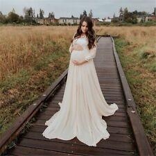 Crochet Maternity Dress Women's Long Pregnancy Photography Dresses Full Sleeves