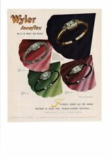 VINTAGE 1946 WYLER INCAFLEX BEAUTIFUL DIAMOND WOMENS' WRIST WATCHES AD PRINT