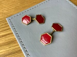 Vintage Mens Vintage Style Red Gold-Plated Cufflinks..