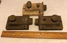 Lot Of 3 Vintage Twist Knob Cast Iron & Brass Dead Bolt Door Locks 2 Yale
