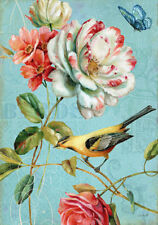 Garden Birds Flowers Botanical Country French Provincial Chic Canvas Print A3