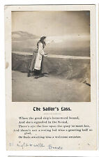 The Sailor's Lass RP PPC Verse Card 1904 New Orleans PMK to York St Cowes IOW