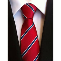 Formal mens Red blue stripes Silk Tie Jacquard Woven Classic Necktie Men's Tie