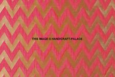 Ornamental chevron pink gold metallic print Indian banarsi Brocade fabric by yd