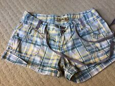 TYTE JEANS YELLOW GREEN PLAID (3) DRAWSTRING COTTON CUFFED SHORTS S-24