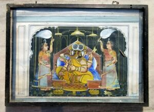 Antique Old Artist Hand Fine God Ganesha With Wives Water Color Painting Framed