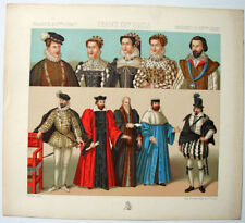 VINTAGE 1800's Color Costume Plate, Fashions of France, 16th Century, 024