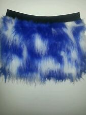 BLUE WHITE FLUFFY FURRY TUTU SKIRT NEON PARTY RAVE DANCE CLUBWEAR HALLOWEEN
