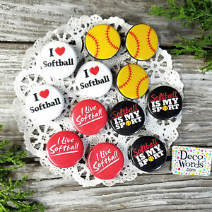 """12 Pins SOFTBALL trade Badges 1 1/4"""" party favor gifts 4 styles DecoWords USA"""