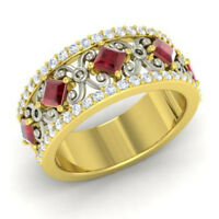 1.40 Ct Real Diamond Eternity Band 14K Solid Yellow Gold Ruby Ring Size L M N K